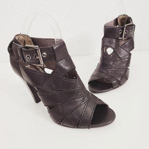 Coach Harah 8 Black Leather Strappy Peep Toe Heels
